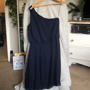 Adrianna Papell —Navy Blue One Shoulder Dress Sz8